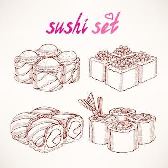 Set von vier verschiedenen arten von köstlichen handgezeichneten skizzenrollen