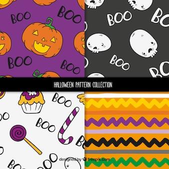 Set von vier verschiedenen halloween-mustern