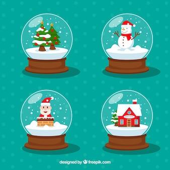 Set von vier weihnachtsschneebälle