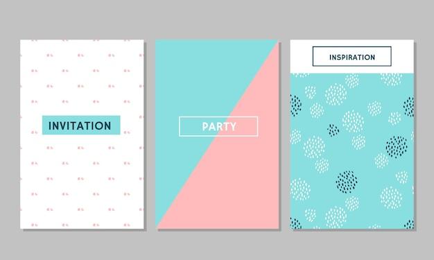 Set von vintage creative cards, klebeband, aufklebern, etiketten mit handgezeichneten polka dots texturen