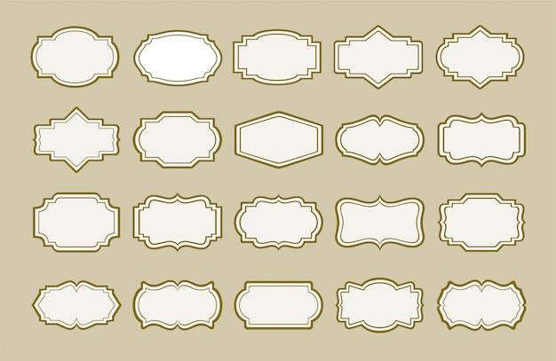 Set von vintage-etiketten und rahmen