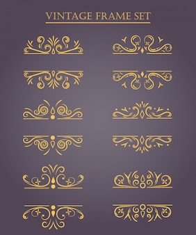 Set von vintage-frames. vektor-illustration.