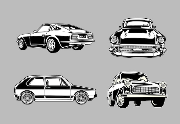 Set von vintage-muskel- und oldtimern in monochromen retro-stil-autos
