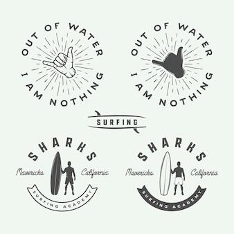 Set von vintage-surfen-logos, emblemen, abzeichen, etiketten und designelementen. grafische vektorillustration