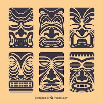 Set von vintage tiki masken