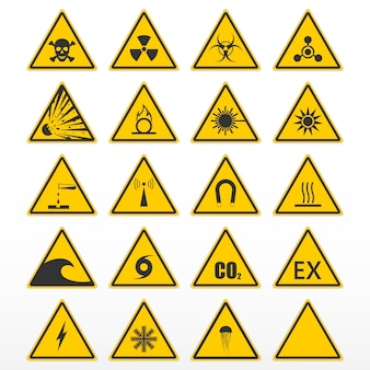 Set von warnzeichen