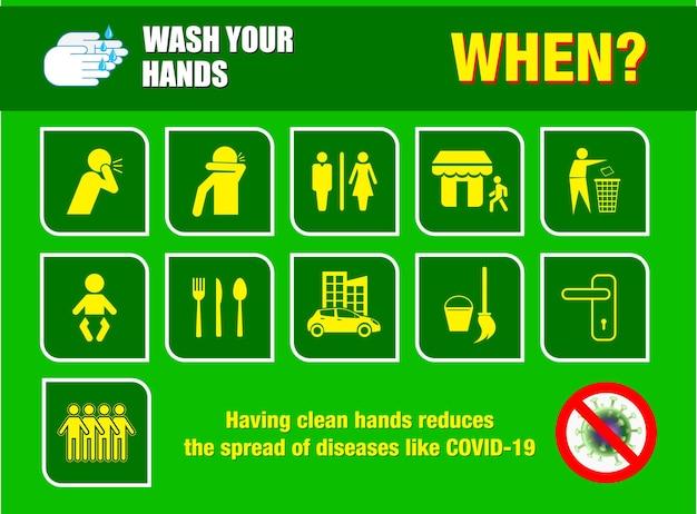 Set von waschen sie ihre hand pflichtzeichen oder pflichtzeichen der öffentlichen gesundheit für covid 19 eps-vektor
