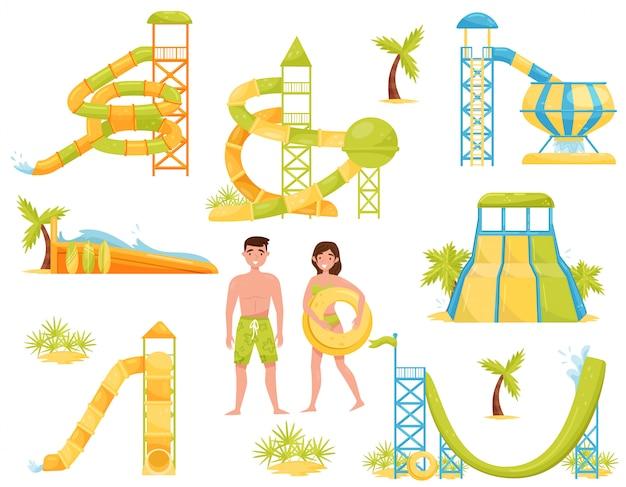 Set von wasserrutschen, surfwellenbecken und menschen in badeanzügen. aquaparkausrüstung. extreme attraktionen
