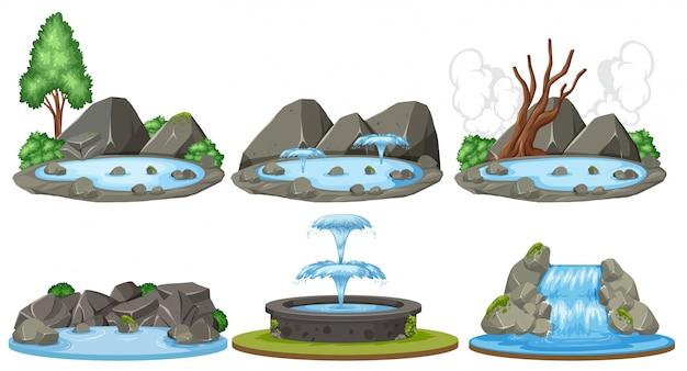 Set von wasserszenen