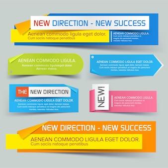 Set von website-bannern für geschäfts- und handelsverkaufsrabatt gestylt