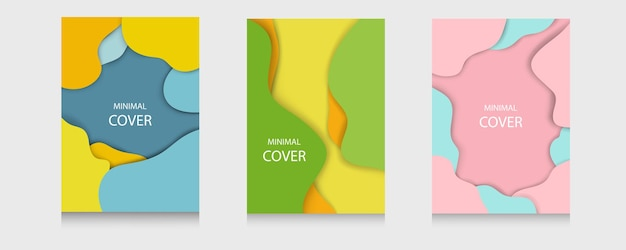 Set von weichen, minimalen cover-tapeten-vorlagenhintergrund