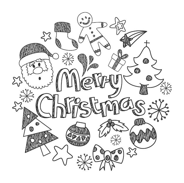 Set von weihnachten doodle isoliert auf weißem hintergrund Premium Vektoren