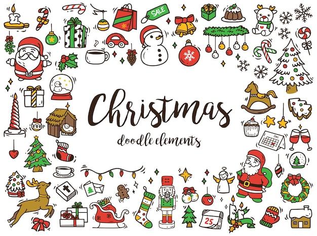 Set von weihnachten doodle isoliert auf weißem hintergrund