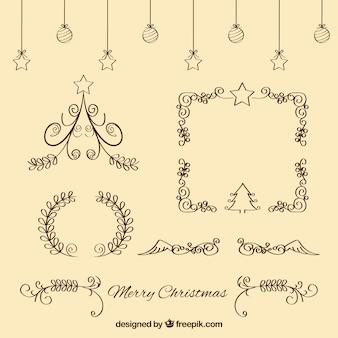 Set von weihnachten kalligraphischen verzierungen