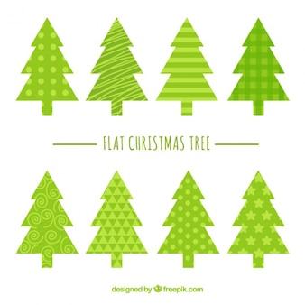 Set von weihnachtsbäumen mit abstrakten design