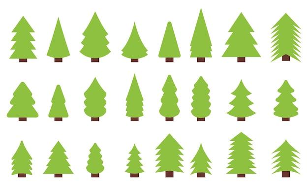 Set von weihnachtsbaum-vektoren