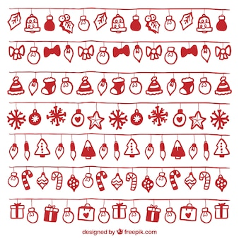 Set von weihnachtsbeleuchtung mit roten handgezeichneten objekte