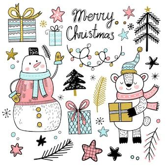 Set von weihnachtselementen im doodle-stil schneemann teddybär geschenke schneeflocken weihnachtsbäume