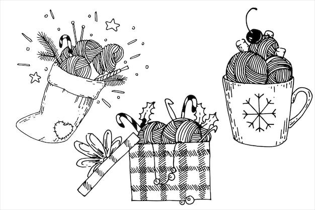 Set von weihnachtsillustrationen im doodle-stil zum thema stricken von häkelgeschenken