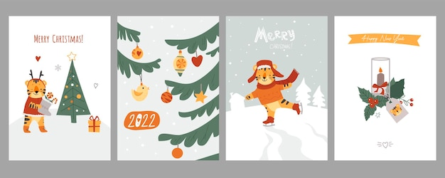Set von weihnachtskarten netter flacher stil vektor-illustration isoliert