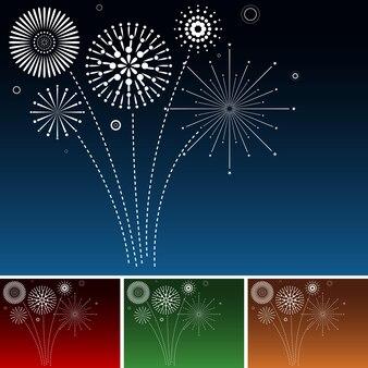 Set von weißen feuerwerkskörpern, die auf verschiedenfarbigen himmeln explodieren