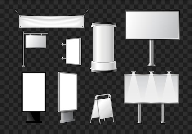 Set von werbesäulen, säulen, wimpel - moderne vektor isolierte objekte auf transparentem hintergrund. realistische weiße und schwarze roll-up- und pop-up-bannerständer, stative, stände für werbeangebote