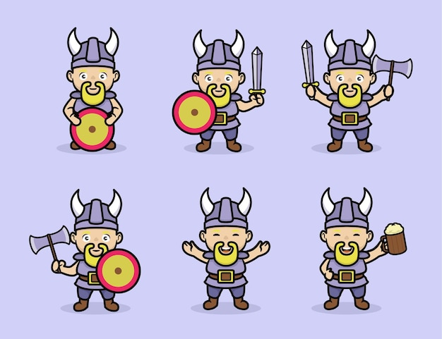 Set von wikinger-charakterdesign