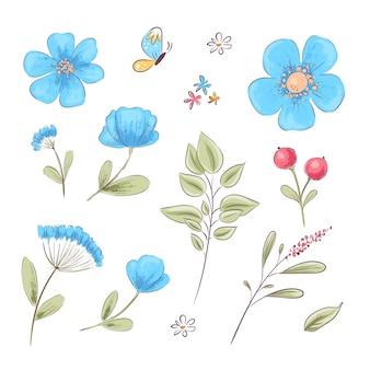 Set von wildblumen und schmetterlingen. handzeichnung. vektor-illustration Premium Vektoren