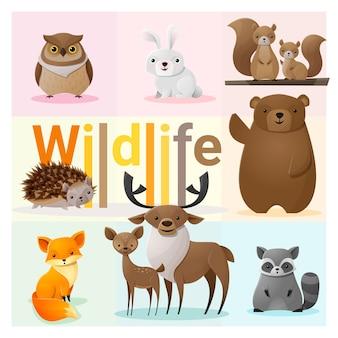 Set von wilden tieren