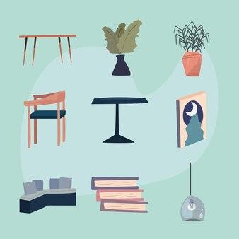 Set von wohnräumen und wohnzimmersymbolen