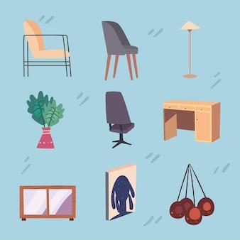 Set von wohnräumen und wohnzimmerszenen
