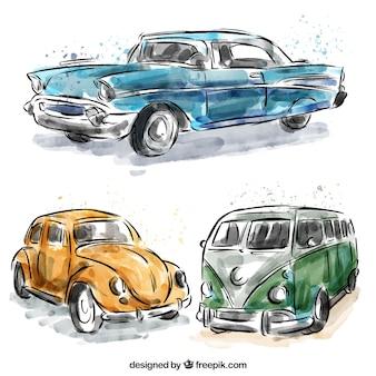 Set von Wohnwagen und Aquarell Oldtimern