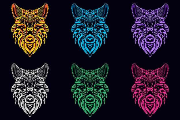 Set von wolfsköpfen