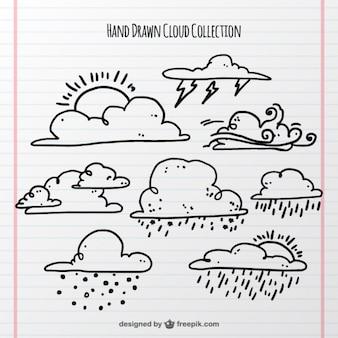 Set von wolken und atmosphärische phänomen