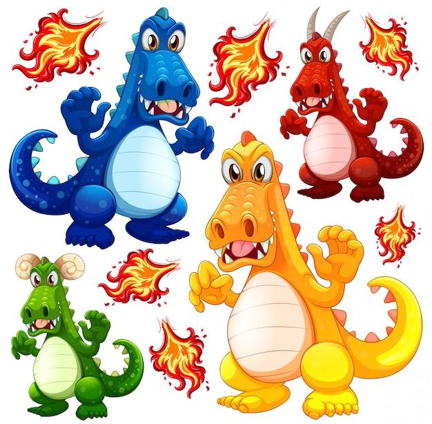 Set von wütenden drachen