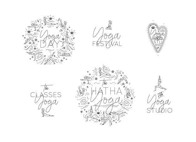 Set von yoga-monogrammen mit unterschiedlichen schriftzügen im minimalistischen grafikstil