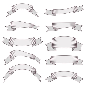 Set von zehn bändern und bannern für webdesign. großes gestaltungselement lokalisiert auf weißem hintergrund. vektor-illustration.