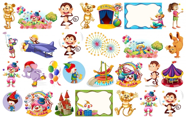 Set von zirkuselementen und objekten
