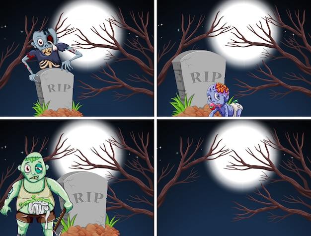 Set von zombieszenen