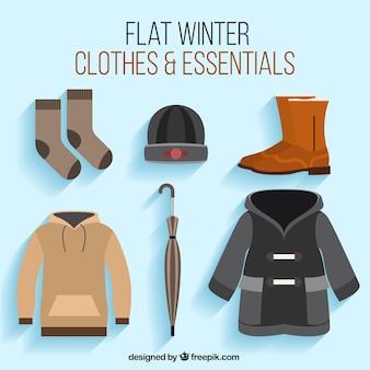 Set von zubehör und bekleidung für den winter