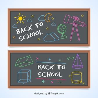 Set von zurück zu schule tafel banner mit zeichnungen