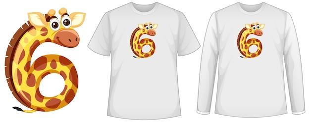 Set von zwei arten von hemd mit gelb in nummer sechs form