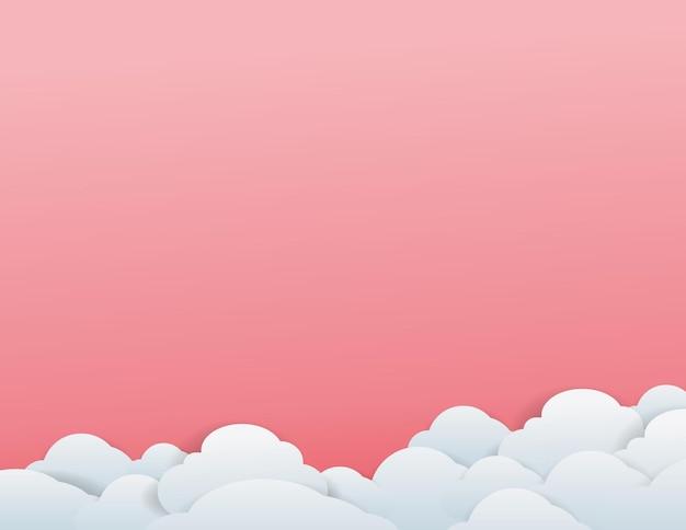 Set von zwölf verschiedenen wolken auf rosa hintergrund