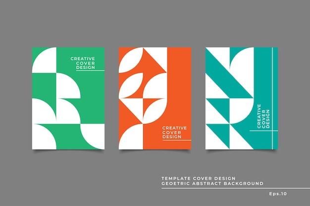 Set vorlage cover design abstrakte geometrische