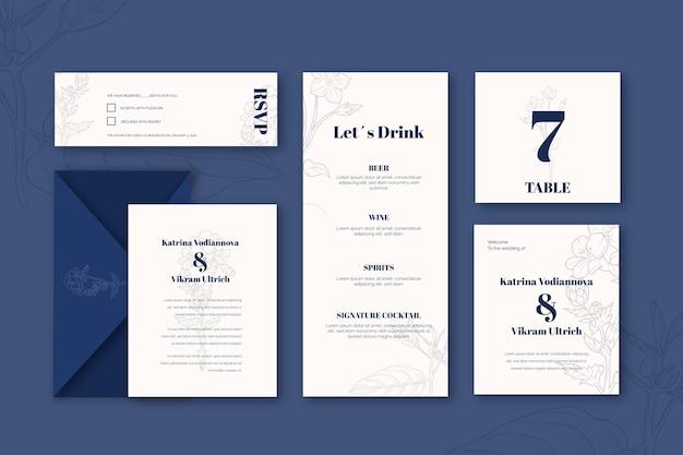 Set vorlage für hochzeitsbriefpapier