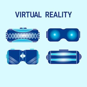 Set vr glasses moderne schutzbrillen für die virtuelle realität und kopfhörer-kollektion