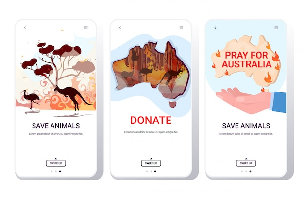 Set waldbrände lauffeuer buschfeuer naturkatastrophe beten für australien retten tiere konzept telefon bildschirme sammlung mobile app horizontalen kopierraum