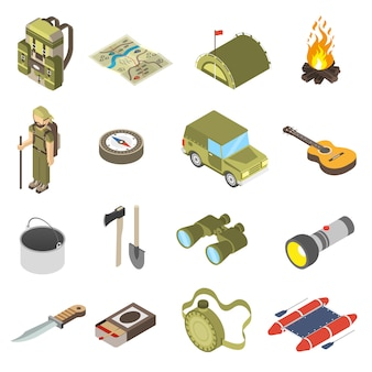 Set wandern und camping icons