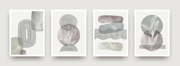 Set wandkunst minimales poster im skandinavischen stil handgezeichnetes wandkunstdekor