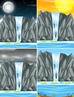 Set wasserfall bei unterschiedlichem wetter